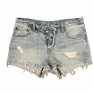 Levi's 501 Distressed Frayed Cut Off Denim Shorts